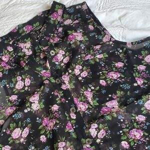 Sheer black and purple floral, forever 21 collar
